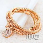 Bangle Chain Bracelet Gold Plated Sterling Cristal Cuff Heart Charm | Jewelry for sale in Lagos State, Alimosho