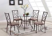 Mini Round Glass Chrome Dining Table and 4 Chairs | Furniture for sale in Lagos State, Apapa