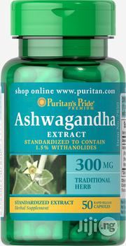 Puritans Pride Ashwagandha 300mg-50 Capsules | Vitamins & Supplements for sale in Lagos State, Orile