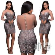 Sexy Short Party Dress Long Sleeve Sequin Mesh Stitching Dress | Clothing for sale in Lagos State, Ikeja