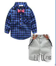 Boys Bold Checker Top,Short Denim With Suspender and Bow Tie   Clothing Accessories for sale in Lagos State, Surulere