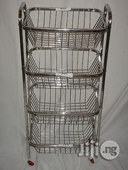 Stainless Steel Kitchen Fruit Vegetable Rack Storage Cart Trolley 4 Tier | Store Equipment for sale in Lagos State, Victoria Island