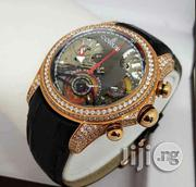 Exclusive Full Iced Corum Wristwatch With Black/Brown Leather Strap | Watches for sale in Lagos State, Lagos Island