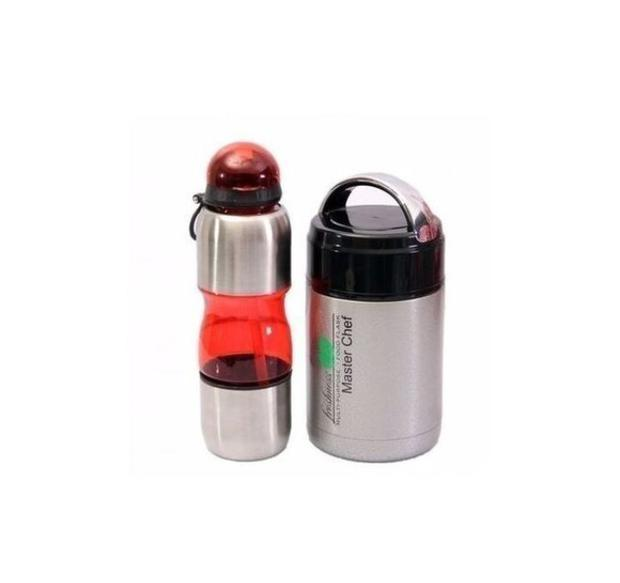 Master Chef Kids Food Flask And Water Bottle-2 In 1 Bundle