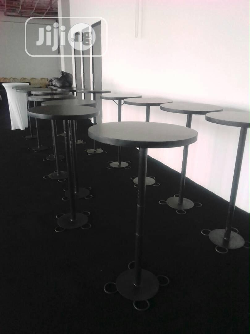 Steel Cocktail Table White Spandex Table Cover | Party, Catering & Event Services for sale in Lekki Phase 1, Lagos State, Nigeria