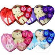 Love Heart Soap Flower Gift Box With Plush Bear Valentine's Day Gift | Stationery for sale in Oyo State, Ibadan