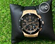 Black And Gold Hublot Leather Watch   Watches for sale in Lagos State, Agboyi/Ketu