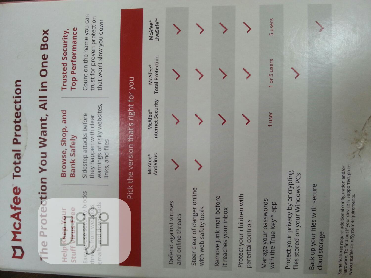 Mcafee Total Protection   Software for sale in Ikeja, Lagos State, Nigeria
