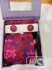 Set Of Red Flowered Designers Tie With Cufflinks | Clothing Accessories for sale in Lagos State, Lagos Island