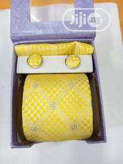 Set Of Yellow Corporate Designers Tie With Cufflinks | Clothing Accessories for sale in Lagos State, Victoria Island