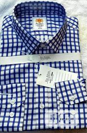 Quality Men's Blue Long Sleeved Check Shirt With White Strips | Clothing for sale in Lagos State, Surulere