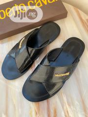 Black Leather Roberto Cavalli Palm Slipper for Men | Shoes for sale in Lagos State