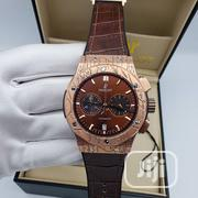 Hublot Chronograph Rose Gold Leather Strap Watch | Watches for sale in Lagos State, Lagos Island