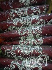 Wine Beautifully Stoned Fabric | Clothing for sale in Lagos State, Ojo