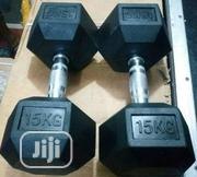 Brand New Pair 15kg Hex Dumbbell | Sports Equipment for sale in Bayelsa State, Yenagoa
