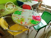 Quality Round Restaurant Glass Table With Three Chairs   Furniture for sale in Lagos State, Yaba
