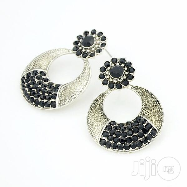 Gold Plated Crystal Drop Earring - Black