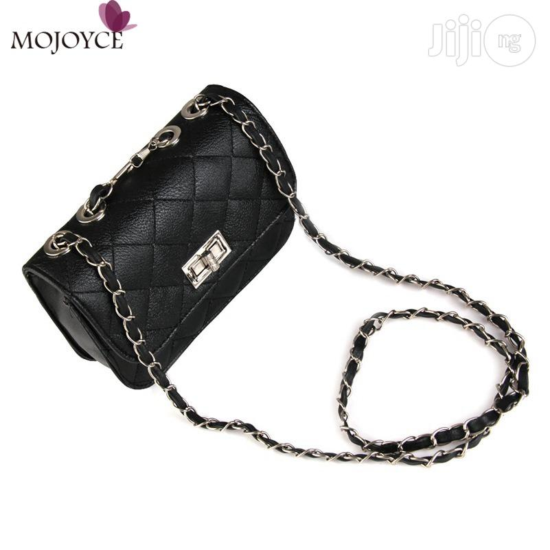 Women's Leather Cute Mini Chain Shoulder Purse Bag - Black